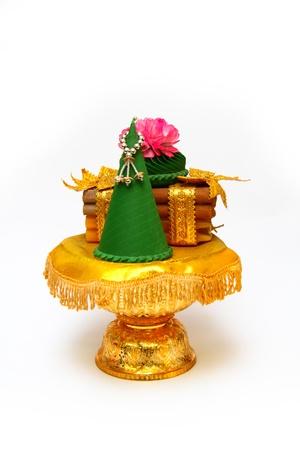 Thai vase flower embroidery on the white background Stock Photo