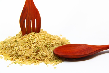rice and spoon on a white background