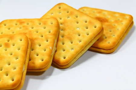 Several tasty crackers isolated on white background