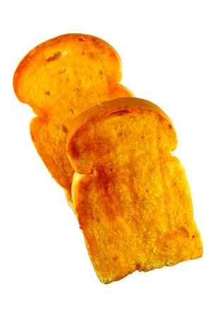 Crusty bread toast slice isolated on white background Stock Photo - 10408003