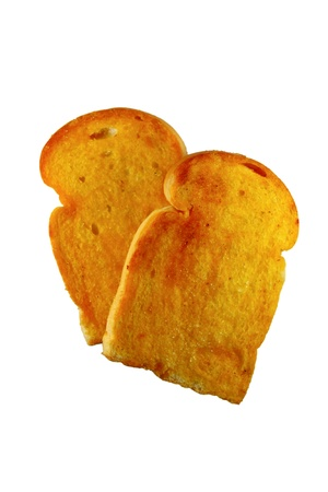 Crusty bread toast slice isolated on white background Stock Photo - 10407998
