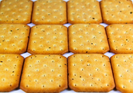 Close up crackers isolated on a white background Stock Photo