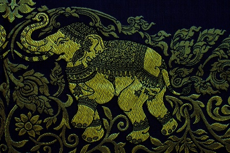 closeup pattern texture of general traditional thai style native handmade fabric weave