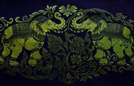 Elephant embroidery, pattern of thai hand made fabric photo