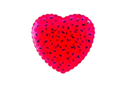 isolated red thai jelly shaped heart on white background Stock Photo