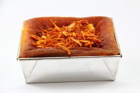 close up coconut custard squares, Thai  desserts
