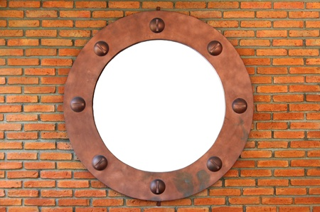 white hole in red brick wall, brick frame photo