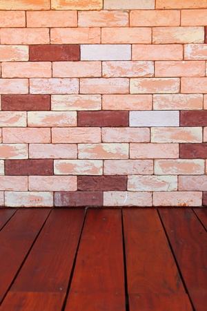 Modern stone Brick Wall Surfaced and wooden floor photo