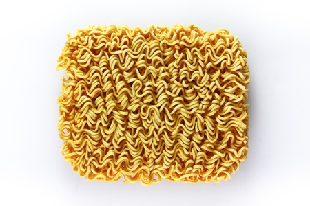 block of Instant noodles on white background photo