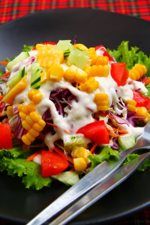 Fresh mixed salad with tomatoes, corn, red cabbage photo