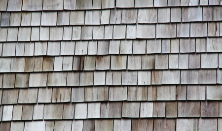 cedar shakes: detail of brown wood roof shingles  Stock Photo