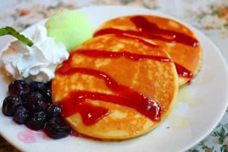 delicious pancake with fruits photo