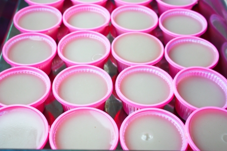 coconut jelly In a row Thai Style Stock Photo