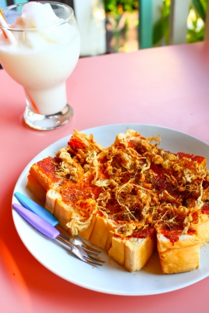 Toast shredded pork and chili paste style Thailand