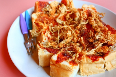 Toast shredded pork and chili paste style Thailand Stock Photo - 18141775