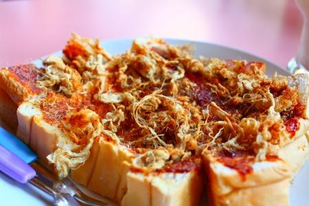 Dried shredded pork on toast bread slices for breakfast Stock Photo - 18153863