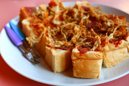 Dried shredded pork on toast bread slices for breakfast Stock Photo - 18153859