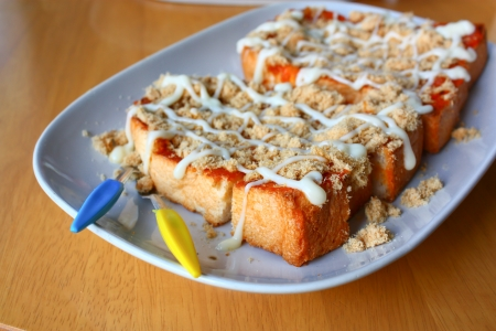 Toast shredded pork and chili paste style Thailand