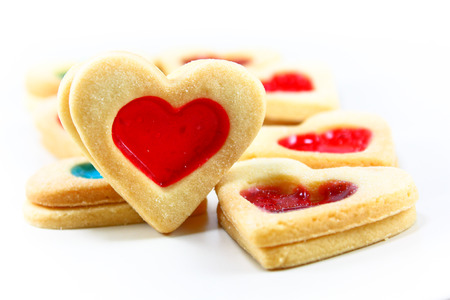 cookies with jam closeup isolated on a white