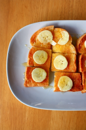 Banana and honey toast, close - up Stock Photo