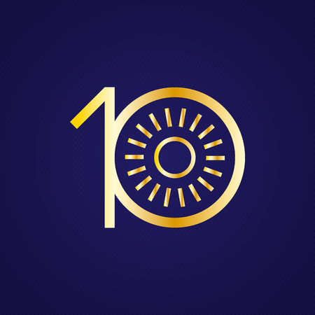 10th: 10th anniversary years with a circle. Sun in circle and number Gold metal. Luxury, royals