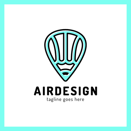 simple logo: Hot air balloon locator with pencil simple business icon logo. Art design pen logotype. Illustration
