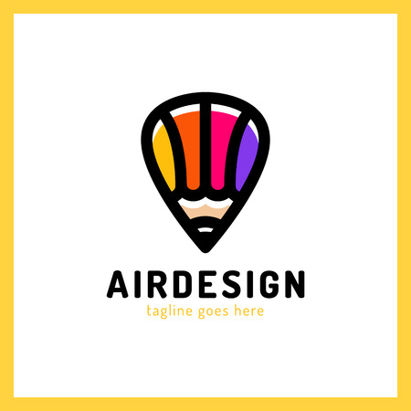 Hot air balloon locator with pencil simple business icon logo. Art design pen logotype. Illustration