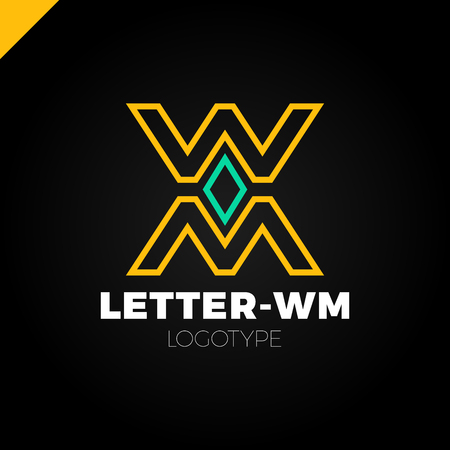 equities: Bank or finance organization letter M or W logo template. Marketing rate simple logotype