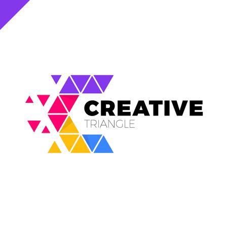 Letter C Creative Triangle Color Logo Design Template 向量圖像
