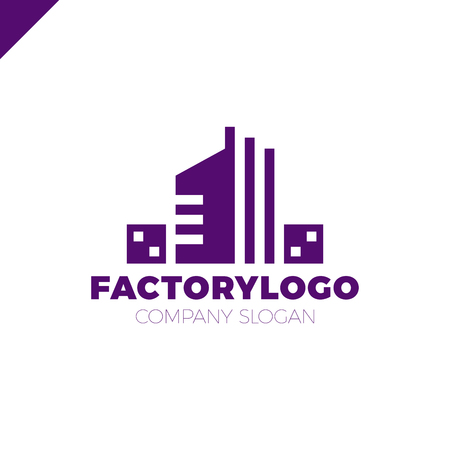 construction firm: construction firm, factory or manifacture logo or apartment building logotype
