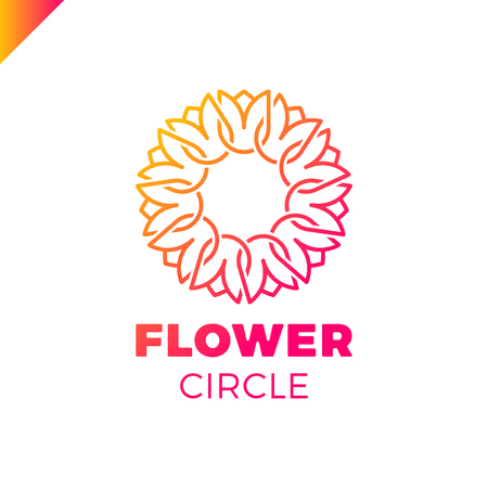 circle flower: Flower Logo circle abstract design vector template. Tulip SPA icon. Cosmetics Hotel Garden Beauty salon Logotype concept.
