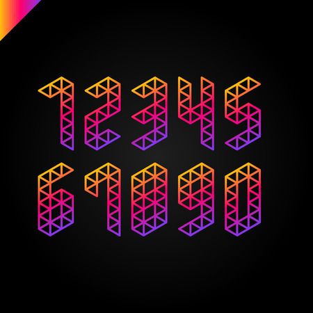 Collection of the rainbow gradient isometric sport numbers set with triangle. Vector illustration font Illustration