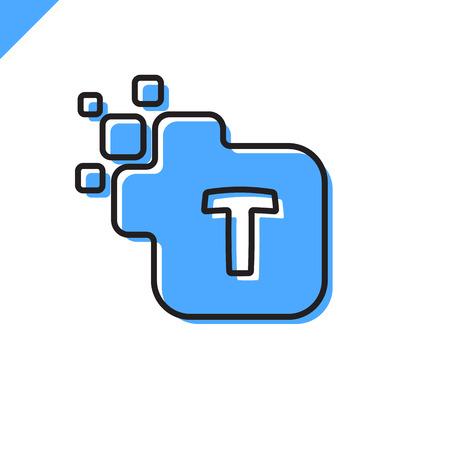 t square: Business corporate square letter T font logo design vector. Colorful digital letter alphabet template for technology. Pixel logotype Illustration