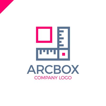 architect: Architect Box, ruler and arrow, vector logo template