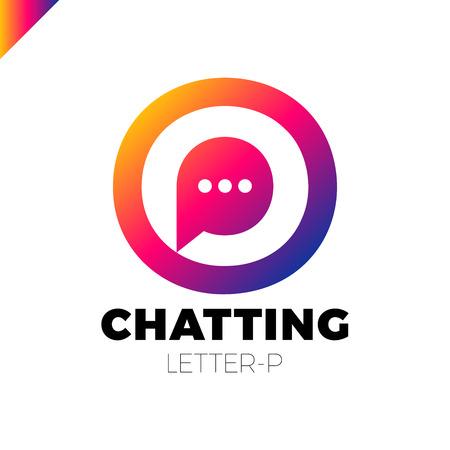 O and P letter logo, speech bubble negative space volume vector icon