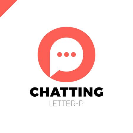 O and P letter logo, speech bubble negative space volume vector icon Logo