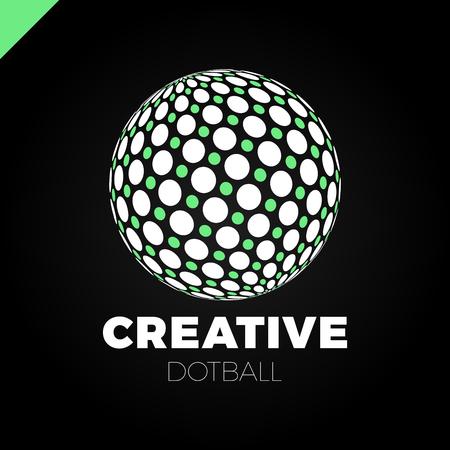 globe grid: Logo sphere with dot. Abstract vector logotype ball globe