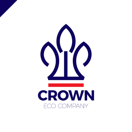 royal: Green Leaves Crown abstract Logo design template. Eco nature Creative Business Logotype concept icon.