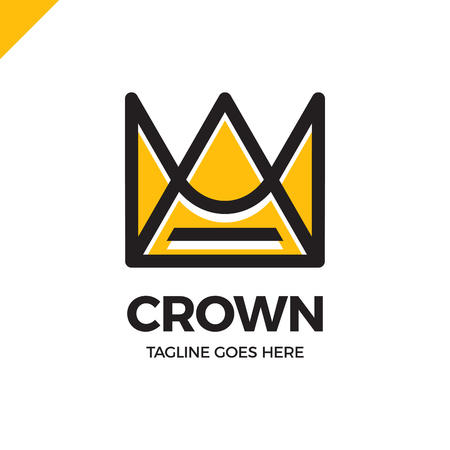 Geometric Vintage Crown abstract Logo design vector template.