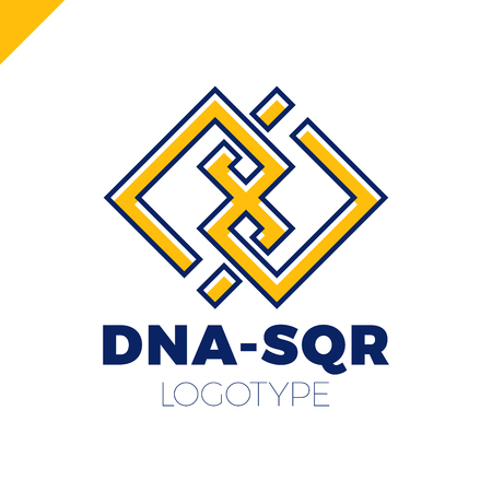alteration: Medical DNA two square concept logo template