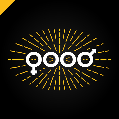 Good typography sex, man and woman sign, icon or symbol with starburst for t shirt print Illustration