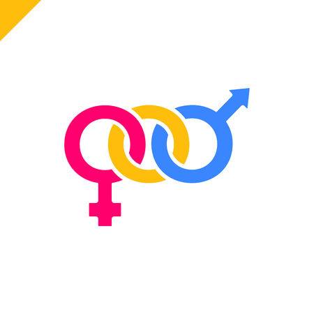Male and female symbols combination for t-shirt print Illustration