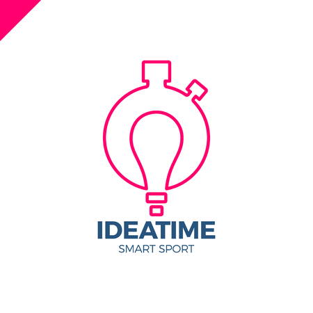 Time management and planning business concept. Vector logo or icon watch with bulb in negative space. Idea smart sport logotype