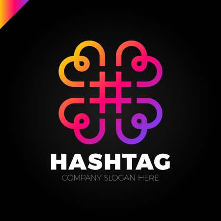 Four hearts social vector symbol. Heart cross logotype. Abstract line hashtag logo icon sign. Illustration
