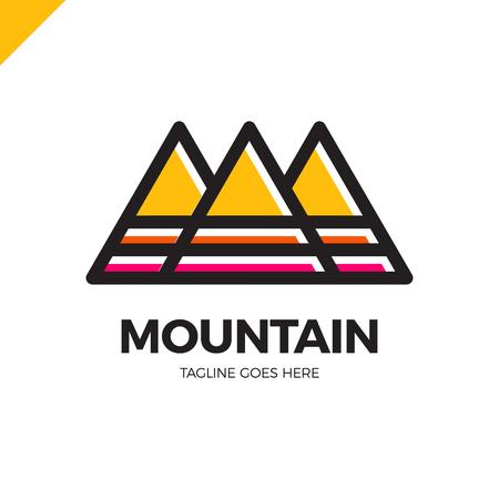water alphabet: Line Mountain Letter M Logo. Fashion Logotype.