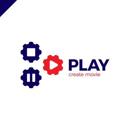 Play icon with video gear logo - made movie company