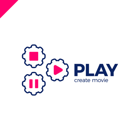 live stream tv: Play icon with video gear logo - made movie company