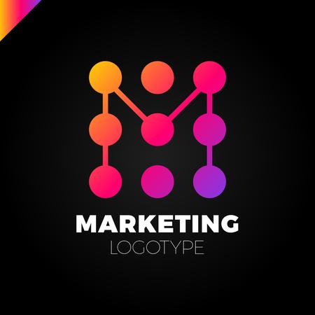letter M logo design template. Marketing rate dot logotype Illustration