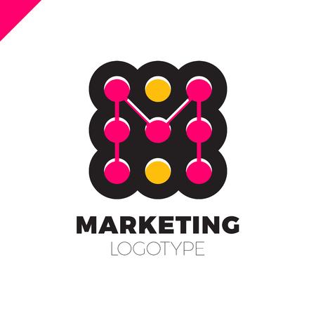 coaster: letter M logo design template. Marketing rate dot logotype Illustration