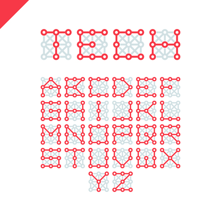 Techno type font alphabet. Digital hi-tech style letters in square. Stock vector for your headlines, posters etc.